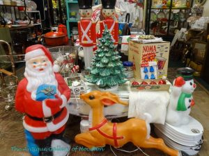 Vintage Christmas decor, outside Santa and reindeer and snowman