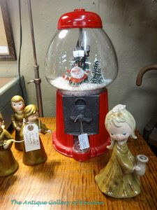 Gumball machine recycled into snowglobe