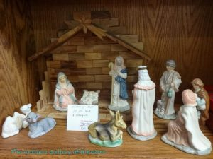 Manger scence and ten painted figurines