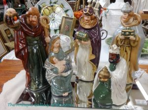 Five painted Nativity figurines