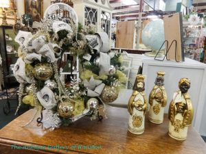 Christmas wreath in white, gold, and silver, 3 magi figurines in gold and white