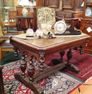 Furniture: Heavily carved library table, Dealer 8039, I9