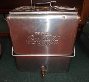 Metal box with handle and spout used to dispense coca-cola, collector's item