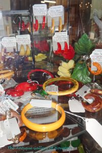Bakelite earrings and bracelets in bright fall colors