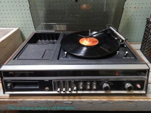 8 track tape player and turntable