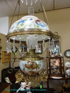 Victorian hanging lamp, floral