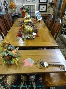 Large dining table with an end extension