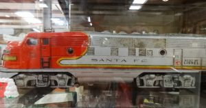 "Passenger train toy locomotive of the ""50's, red and silver, F10, 132"