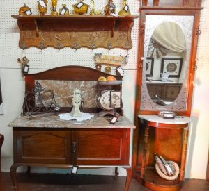 Two pieces of antique furniture, a wash stand and a hall tree