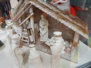White porcelain with gold trim Manger and Nativity
