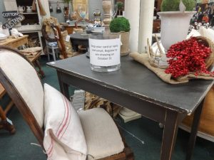 Rustic small oblong desk or table with French style chair