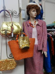 Vintage woman's suit, an assortment of dress and casual handbags, H1, 363