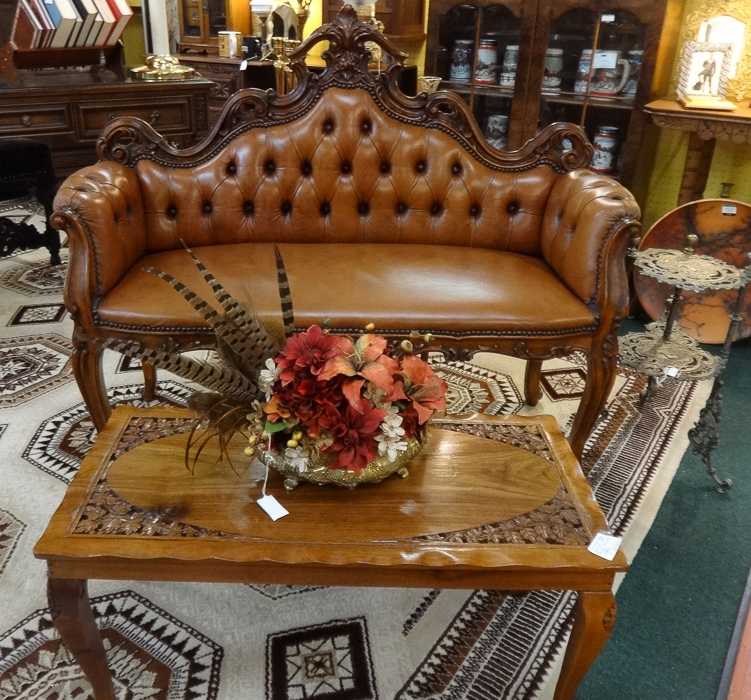 Carved Sette Bench, Leather, France, With Hand-carved