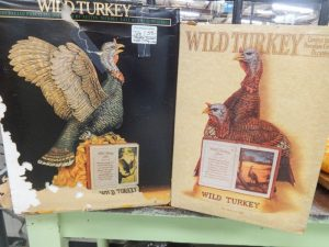 Wild turkey collectible whiskey bottles, posed turkey sculptured ceramic decanters, Dealer 128, showcase 46