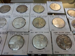 Collectible silver dollars, .999 proof, 1 oz; dealer 413, showcase 11