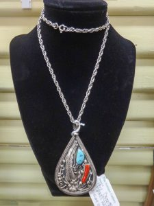 Large teardrop shaped pendant with turquoise and coral, Native American, SC 47