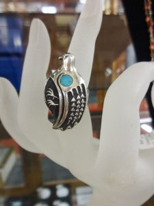 Native American ring, sterling silver bird (quail) with turquoise, Dealer 1268, showcase 19