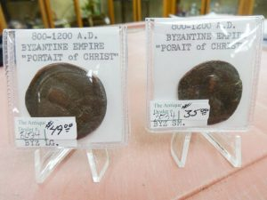 Worn and irregularly shaped coins from the Byzantine Empire of 800-1200 A.D,; dealer 3034, showcase 20
