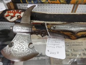 Ceremonial type axe, dealer 357, showcase 42, 43, 44