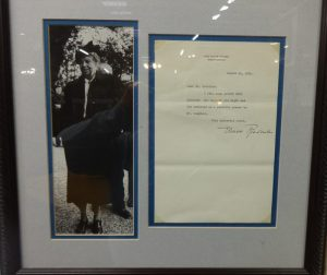 Photo and letter written by Eleanor Roosevelt during White House days, Booth A3