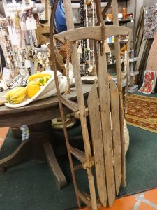 Wooden snow sled, Booth P6
