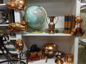 Selection of kitchen copper pieces from molds to chafing dish, Booth B6