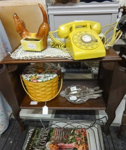 Mid-century phone table with yellow phone, Booth A 10