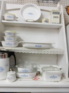 Selection of white and blue corning ware kitchenware, Booth A 10