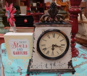 Rustic style, table top clock with Roman numerals