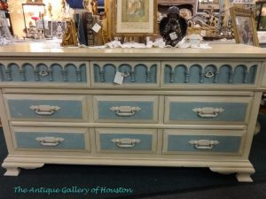 Repainted triple dresser in pale blue and cream