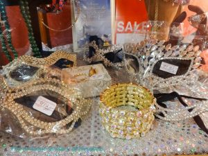 Masks and jewelry with lots of bling for Mardi gras celebrations
