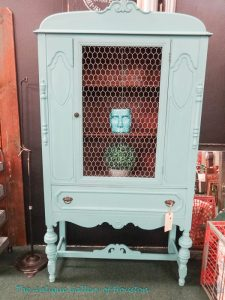 Repainted, upcycled china cabinet with chicken wire door, Booth R 4a
