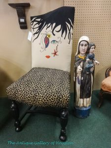 Chair, armless, with back painted as art deco face, Booth T5