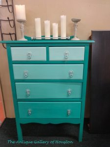 Chest of drawers, repainted in two shades of turquoise, Booth U5