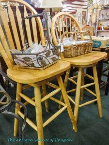 Set of light wood stained bar stools, V5