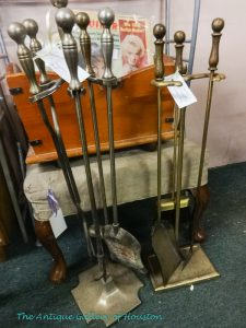 Two sets of fireplace tools, Booth V5
