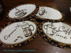 Embroidered coffee time coasters for coffee cups or mugs, Booth T3