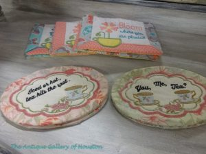 Embroidered coasters for tea or coffee cups, Booth T3