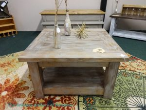 "Rustic, handmade coffee table, raw wood, 20.5"" H x 36"" L x 35"" W, Booth X2"