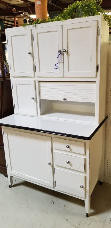 hoosier, white, storage, kitchen, porcelain, metal